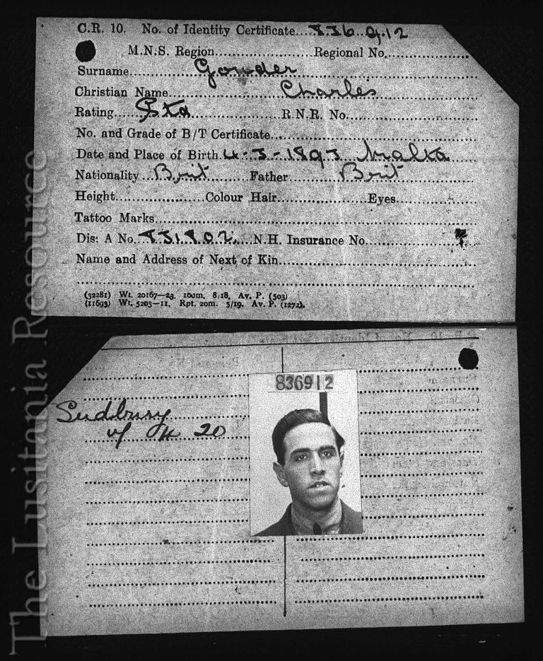 Charles Gouder's identity certificate