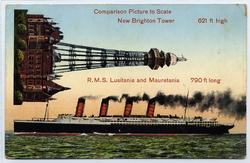 Lusitania and Mauretania compared to New Brighton Tower.